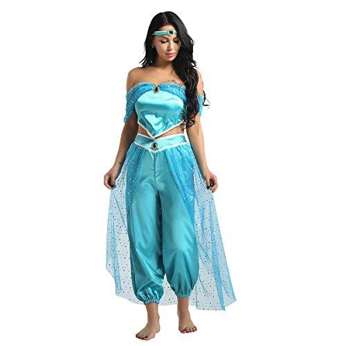 MSemis Disfraz de Princesa Árabe Jasmine para Mujer Chica Traje Danza Oriental Disfraces Jasmín Aladdín Ropa de Cumpleaños Fiesta Despedida Azul S