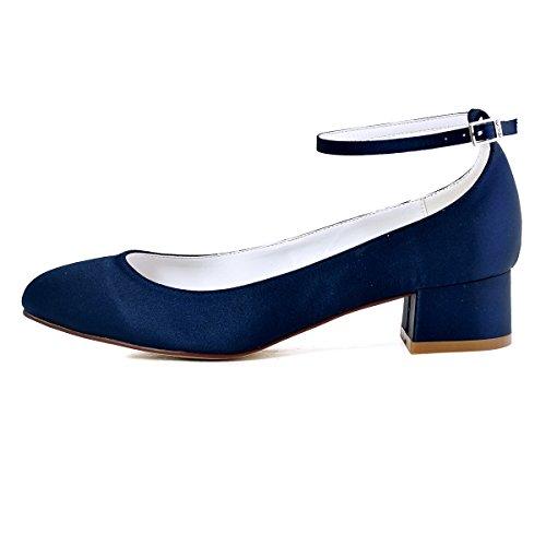 ElegantPark Damen Geschlossene Zehen Ankle Strap Block Absatz Pumps Hochzeit Brautschuhe Dunkel Blau