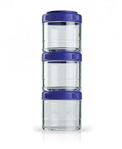 BlenderBottle GoStak Starter 4Pak inklusive Handgriff schwarz – Container zum Aufbewahren von Protein, Eiweiß, Pulver, Vitaminen und mehr, 1er Pack