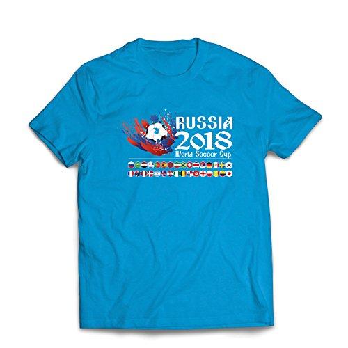 lepni.me Männer T-Shirt Russland-Weltcup-Cup 2018, alle 32 nationalen Fußballmannschaft Flaggen (XX-Large Blau Mehrfarben) -