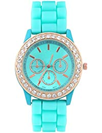 KMS Turquoise Round Dial Stylish Women Analog Watch