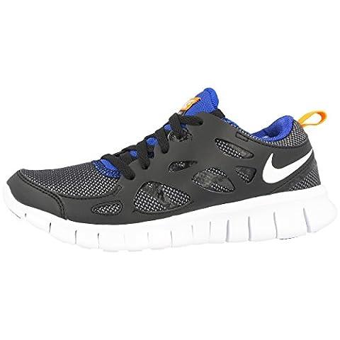 Nike Laufschuhe Free Run 2 (GS) Unisex black-white-total orange-game royal (443742-033), 37,5,