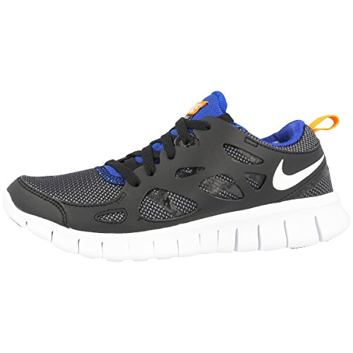 Nike Laufschuhe Free Run 2 (GS) Unisex black-white-total orange-game royal (443742-033), 39, schwarz