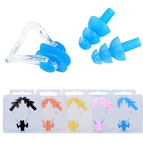 Homgaty 5 Stück weiche Schwimmer-Nasenclips & Ohrstöpsel aus Silikon im Set, zum Schutz der Nasenhöhlen.