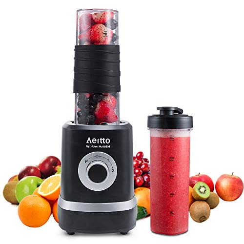Smoothie Maker Mixer, Aeitto Mini Mixer Blender 500W, Mini Standmixer mit 2 X 520ml Reise Sport Flaschen BPA-frei Tritan…