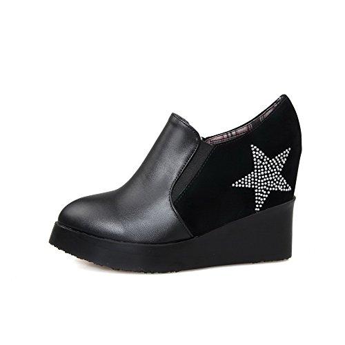 VogueZone009 Damen Spitz Zehe Knöchel Hohe Hoher Absatz Rein Blend-Materialien Stiefel Schwarz