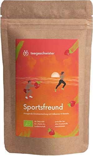 BIO Sportsfreund   natürliches Koffein aus Grüner-Tee Sencha Matcha & Oolong kombiniert mit Ingwer Erdbeerstücken & Holunderbeeren   teegeschwister   85g (Lose Bio-eistee)
