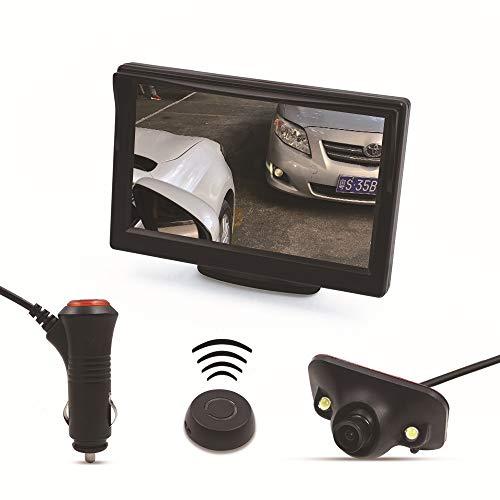SSCJ Drahtloses Auto-Rückfahrkamerasystem, 36 V bis 12 V IP69, wasserdichtes Nachtsichtgerät mit Backup-Leitungsmonitor-Kit mit 5-Zoll-Standdisplay und Seitenansichtskamera