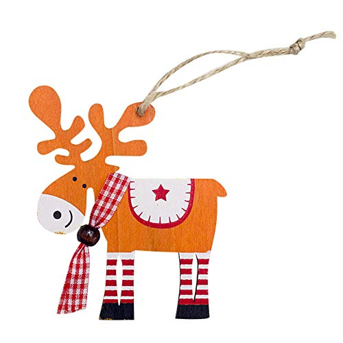 BESSKY Painted Wood Elk Pendant Christmas Tree Decoration Xmas Decor Deer Ornaments Elch-Anhänger aus Elch mit Weihnachtsbaum aus Holz (Elch-mount)