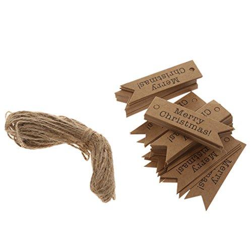 Kraftpapier Geschenkanhänger Etikett Hängen Karten 100pcs (Weihnachts-etiketten)