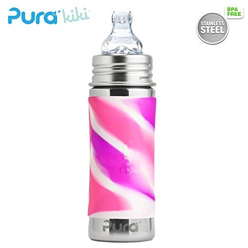 Pura Kiki Trinklernflasche - 325ml - XL Trinklernaufsatz (inkl. Schutzkappe) Pura Farbe/Design Blank + Pink Swirls Überzug