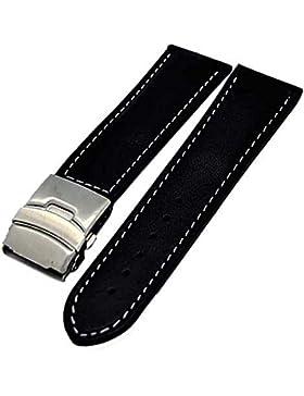 Uhrenarmband Glattleder Faltschließe 18mm schwarz + weisser Naht 4001