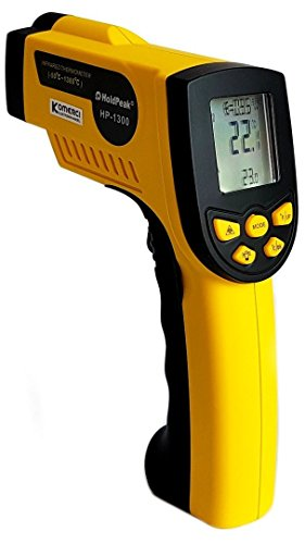 HoldPeak HP-1300 Infrarot-Thermometer 16:1, -50-1300°C, einstellbare Emissivität Pyrometer Laser gelb/grau (Ausrichtung Ziel)