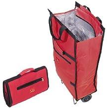 Jata Hogar Bolsa Trolley con Asa de Transporte y Ruedas Plegables Extra Resistentes, Poliéster y Lámina de Aluminio, Rojo, 35.5x17x50 cm