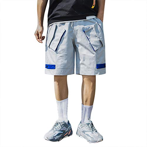 Capri Drawstring Shorts (Setsail Herren Sport Pure Color Button beiläufige lose Jogginghose Drawstring Short Pants)