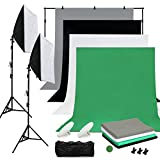 OUBO - Fotostudio Set Studioleuchte Studiosets mit 4X Fotohintergrund 1.6mx3m (schwarz grau weiß grün) Hintergrundsystem 2x50*70CM Softbox 2X LED Fotolampe 3X Studioklemmern 2X Tragtasche