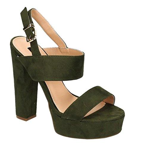 Damen Riemchen Abend Sandaletten High Heels Pumps Slingbacks Velours Peep Toes Party Schuhe Bequem 08 Grün