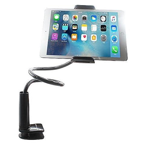 Phone Holder Support Téléphone Support Tablette Bolt Clamp avec support pour les appareils Apple ou Android 4-10.6 pouces, 360 degrés de rotation, 32 pouces bras flexible [Noir]