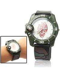 SRY-Mirar Reloj de Personalidad Reloj de Reloj analógico de cráneo Estilo Camuflaje de Cuarzo con Reloj y brújula de Silicona (SKU : S…