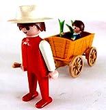 playmobil ® - Figur - Mann - Bauer mit Kind und Bollerwagen - Karre Handwagen - Blumen - Tochter