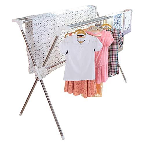 Edelstahl Wäscheständer Bodenfalten Teleskop Coole Kleidung Doppel Pol Innen-und Außenbalkon Kleiderbügel Trocknen Quilt Rack XINYALAMP (Teleskop-pol-füße)