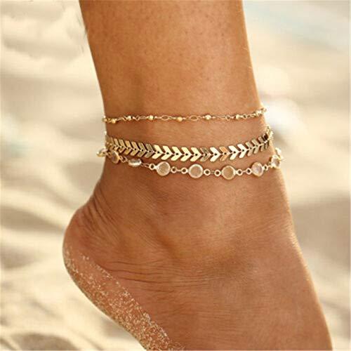 Yesiidor Fußkettche Damen Gold Kugel Fußketten Fuß Ketten 3pcs