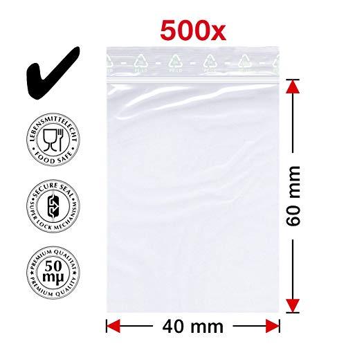Smart packtm - 500sacchetti con chiusura a pressione, 40x 60mm, sacchetto con chiusura a scorrimento rapida a zip, prodotto in germania