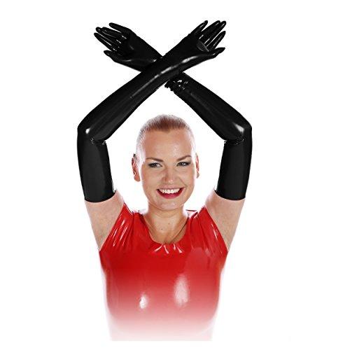 Rubberfashion sehr lange Latex Handschuhe Latexhandschuhe bis zum Oberarm mit veredelter Oberfläche nicht chloriert für Frauen und Herren 1 Paar schwarz M