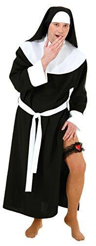 Fancy Me Herren UNGEZOGEN Nonne religiös Habit Comedy Lustig Peinlich Junggesellenabschied Nacht Party Spaß Kostüm Kleid Outfit - Schwarz, Large (EU50/52)
