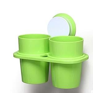 Angle Simple Salle de Bain Double support Verre à dents à ventouse vert