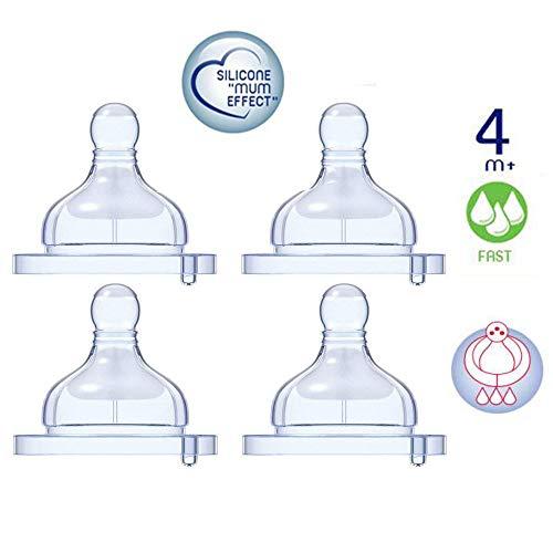 Chicco Tettarella in silicone 4 pezzi flusso veloce, effetto mamma, 4 mesi+ made in Italy