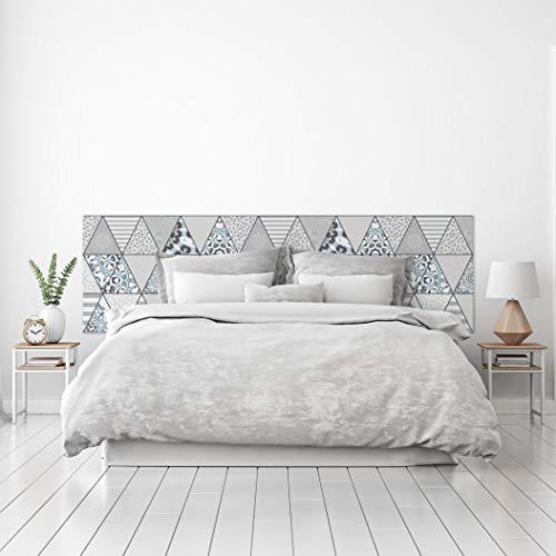 MEGADECOR Cabecero Cama PVC Decorativo Económico Diseño Geométrico de Triángulos Estampados Fondo Blanco Varias Medidas (150 cm x 60 cm)
