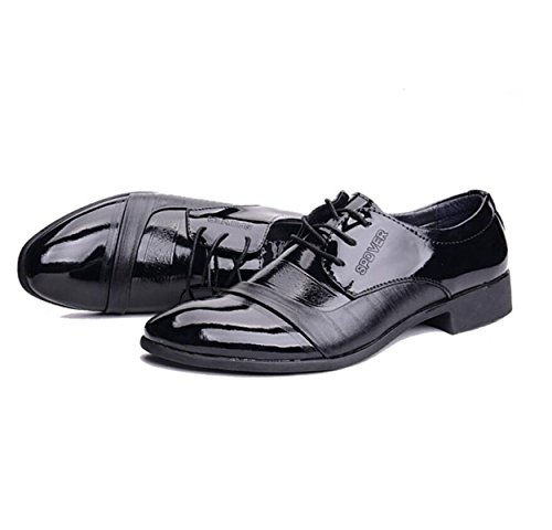 GRRONG Herren Lederschuh Freizeit-Geschäft-formales Kleid Echte Leder-Schwarz Black