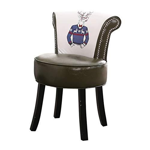 YNAYG Hocker mit Rückenlehne,Ankleide-Stuhl mit hoher Rückenlehne, Vanity Stool-Schlafzimmer-Ankleide-Stuhl mit bequemem Sitz und Holzbeinen im Wohnzimmer, Schlafzimmer, Rezeption - Faux-leder-empfang