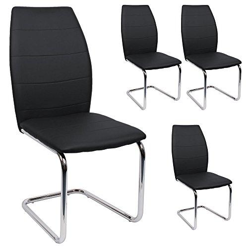 SVITA Esszimmerstuhl 4er Set Stühle modern Freischwinger Schwingstuhl Kunstleder Farbwahl (schwarz)