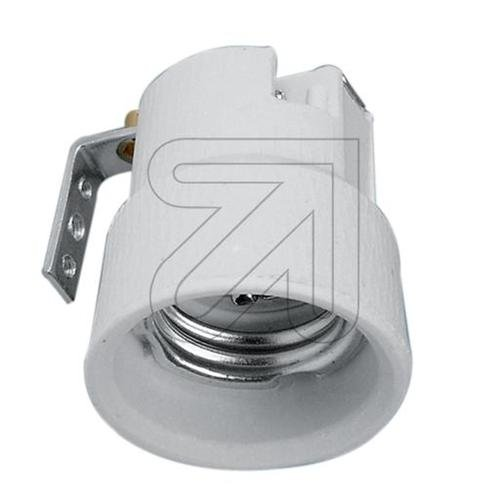 Porzellan-Fassung E27 mit Metallwinkel -