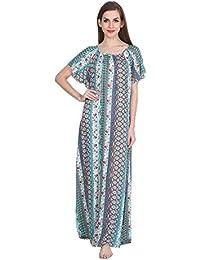cf7916ab6b Patrorna Women s Shift Maternity Nighty Night Dress Gown in Blue Paisley  Print (Size S-