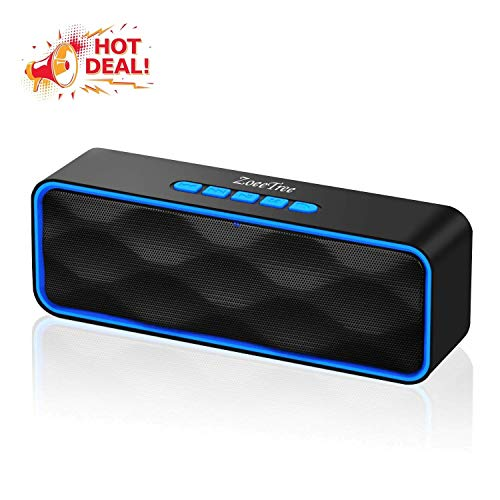 ZoeeTree S1 Bluetooth Lautsprecher, Wireless Bluetooth Speaker mit Dual-Treiber Bass & FM Radio, 8h Spielzeit, Freisprechfunktion, AUX/ TF/ USB, Tragbarer Musikbox for iPhone Android PC