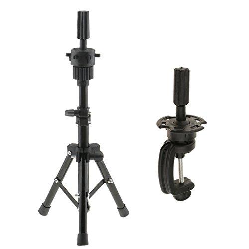 MagiDeal Support Trépied Réglable Titulaire à Mannequin Tête d'exercise + Clamp Pince Stand à Tête Mannequin de Cosmétologie