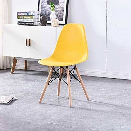 DLIBIG Esszimmer Stühle Armloser Kunststoffsitz Eiffel Massivem Holz Sitz Beinen Moderne Ergonomische Designstühle Stilvolles Büro Küche Lounge Schlafzimmer Eames Stuhl,Gelb -