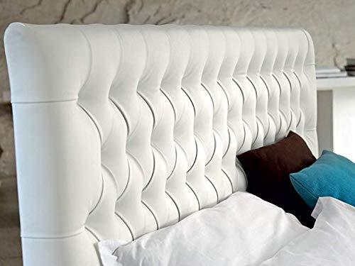 SUENOSZZZ- Cabecero Copenhague tapizado en Polipiel con Capitone Real. Color Blanco (Camas...