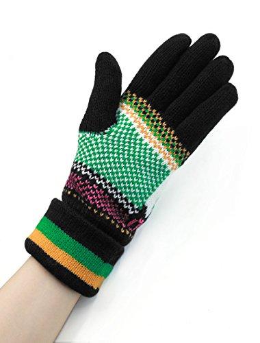 Femmes Five Fingers Cerf Motif Tricot Roulé Côtelé Gants Paire Noir