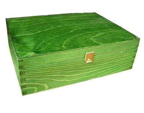 P21g LACKIERTES HOLZ GRÜN - HOLZBOX AUFBEWAHRUNGSBOX GESCHENKBOX SCHMUCKDOSE KASTEN KISTE lackiertes Holz -