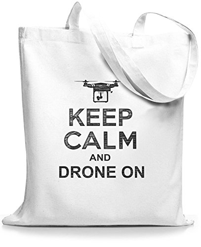 StyloBags Jutebeutel / Tasche Keep Calm and drone on Weiß