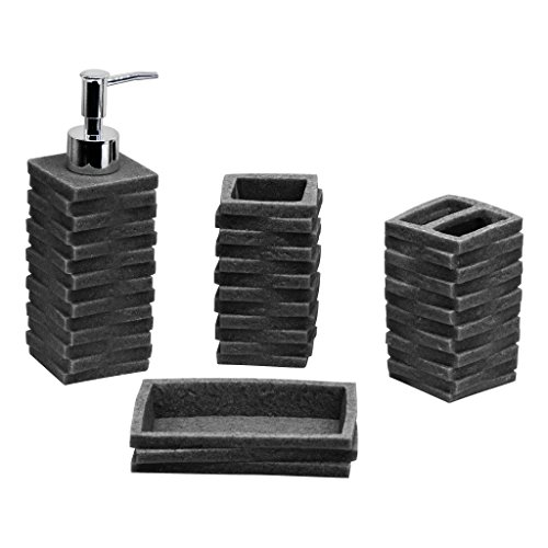 Captivating 4 Piece Deluxe Bathroom Accessory Set   Anti Mold Material   Includes:  Soap/Lotion Dispenser, Soap Dish, Toothbrush Holder, Tumbler   Various  Designs (Dark ...