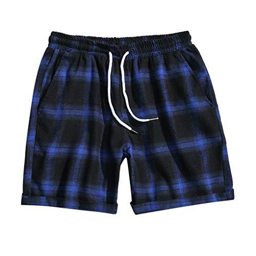 Shorts/Skxinn Herren Gitter Kurze Hose Badeshorts Surfshorts Badehose Strandshorts Casual Urlaub Strand-Shorts Lose Sport Slim Shorts Pants M-5XL(Blau,Medium)