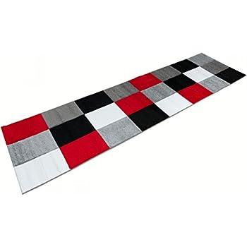 Teppich läufer schwarz weiß  Bettumrandung Läufer Teppich Modern Karo Rot Grau Schwarz Weiss ...