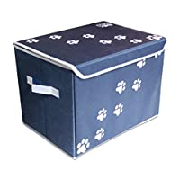 "‏‪Feline Ruff Large Dog Toys Storage Box 16"" x 12"" Pet Toy Storage Basket with Lid. Perfect Collapsible Canvas Bin for Cat Toys and Accessories Too! (Blue)‬‏"