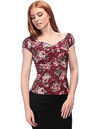 Collectif DOLORES Vintage ROSE STEM Floral BLUMEN Gypsy Bluse SHIRT Rockabilly