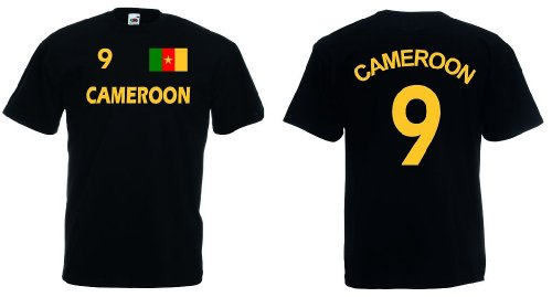 Fruit of the Loom Kamerun Herren T-Shirt Cameroon Trikot beidseitig bedruckt|s-XL